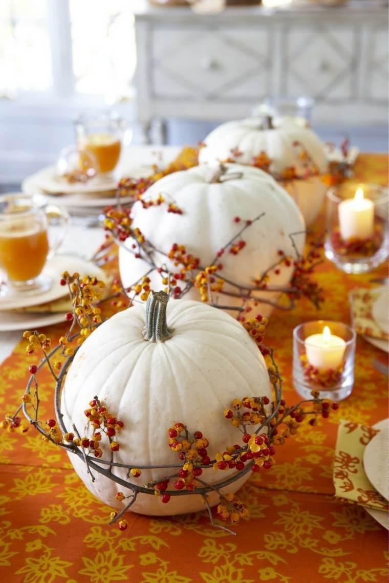 calabazas decora casa otono blancas mesa ideas
