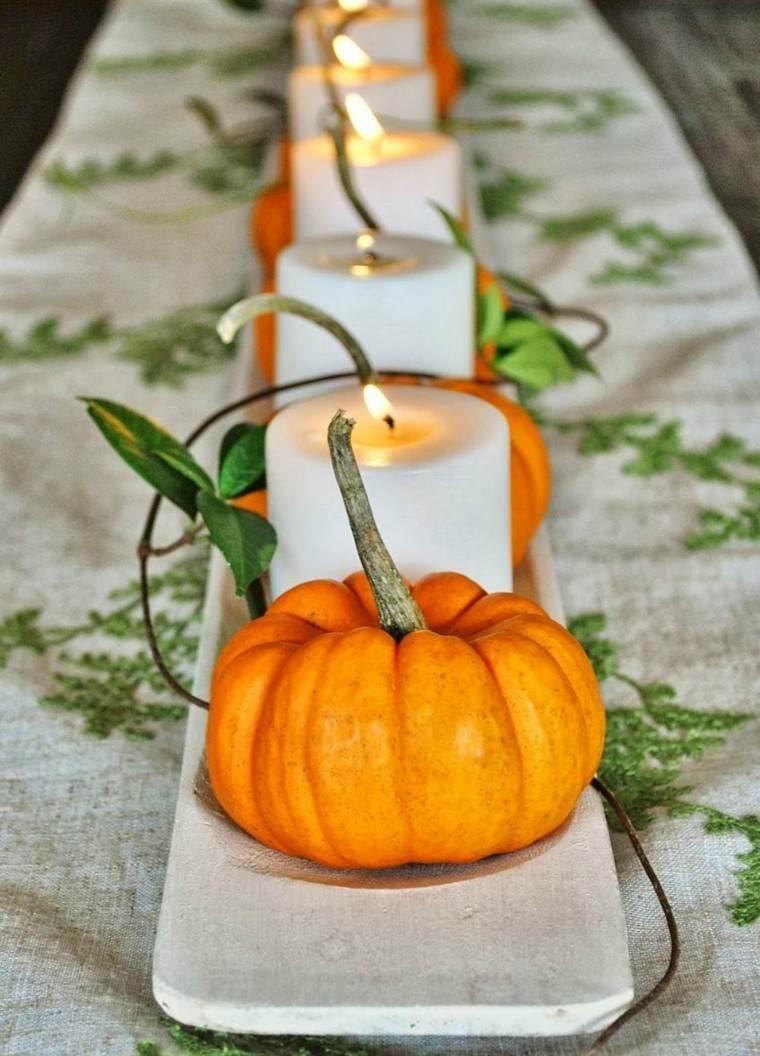 calabazas decora casa otono candelabro ramas precioso