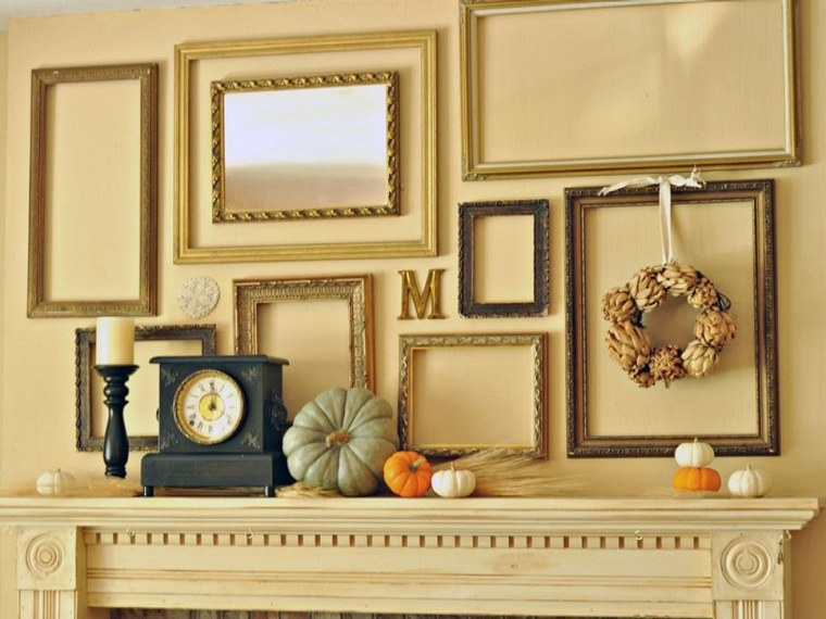 calabazas decora casa otono chimenea marcos cuadros ideas