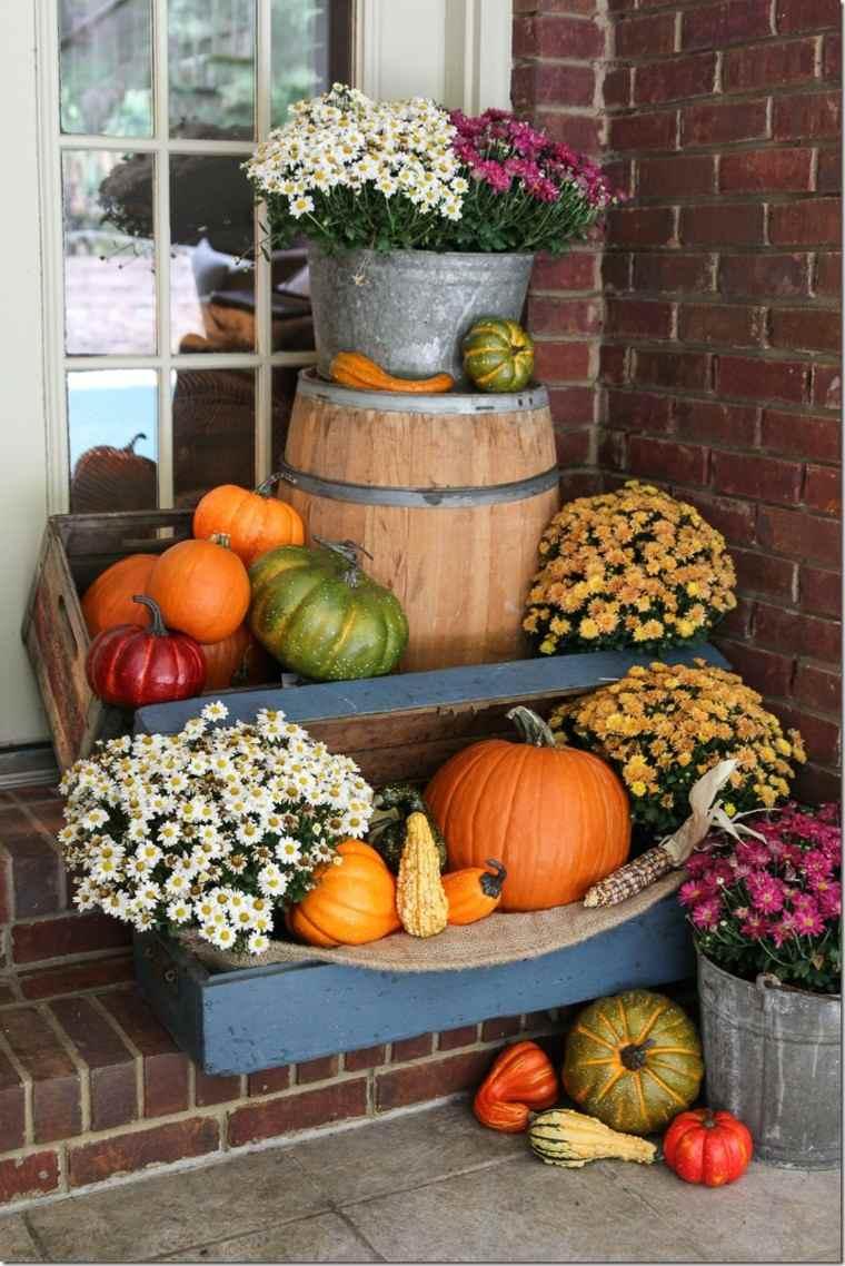calabazas decora casa otono entrada casa plantas ideas