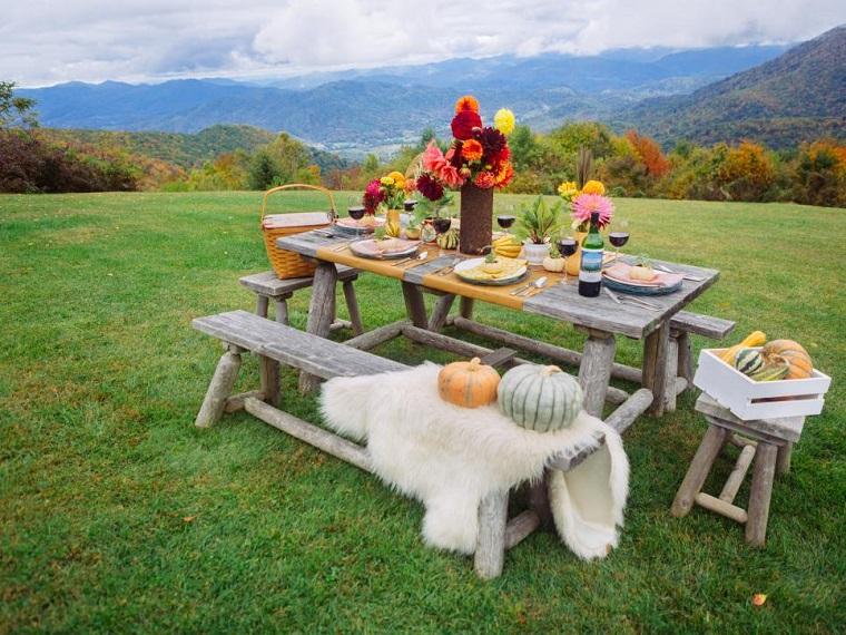 calabazas decora casa otono mesa picnic ideas