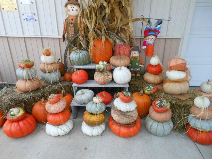 calabazas decorativas halloween jardin muñecos