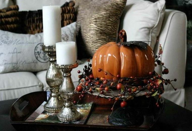 calabazas detalle mesa muebles velas