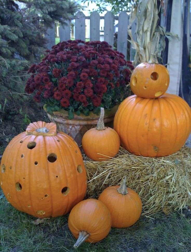calabazas recortadas decoración otoño