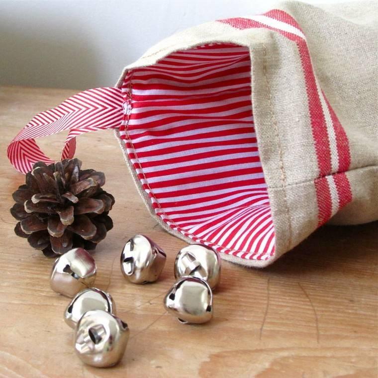 calcetin naviddad adornos mesa cascabeles