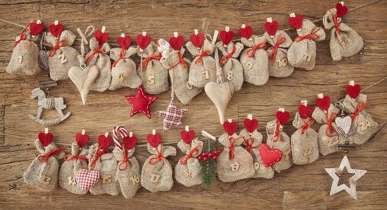 calendario de adviento bolsas pinzas corazones ideas