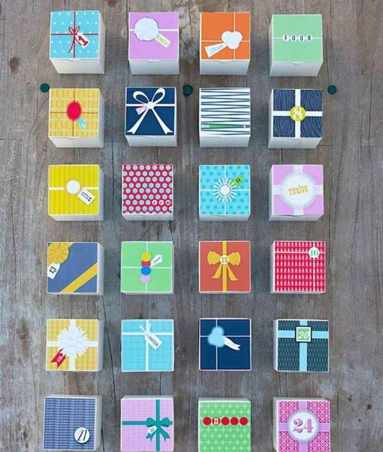 calendario de adviento creativo colorido cajas