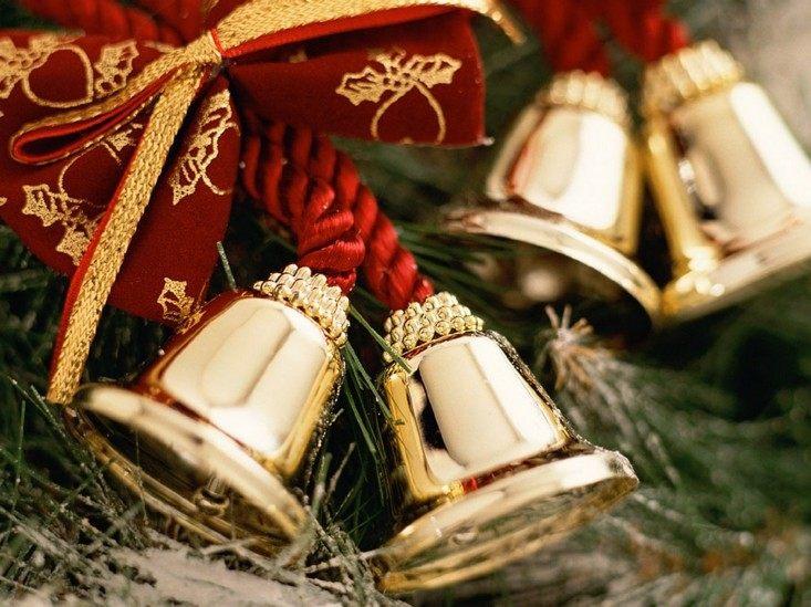 campanas de navidad lazo rojo