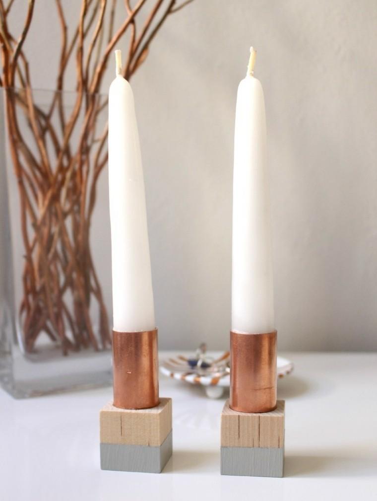 candelabro manualidades preciosas velas madera ideas
