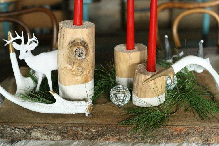 candelabro manualidades preciosas velas rojas madera ideas