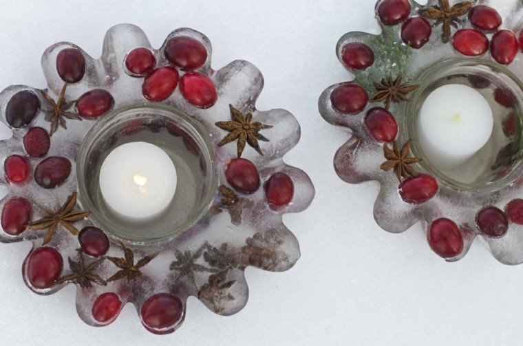 candelabros hielo ramas frutas rojas ideas