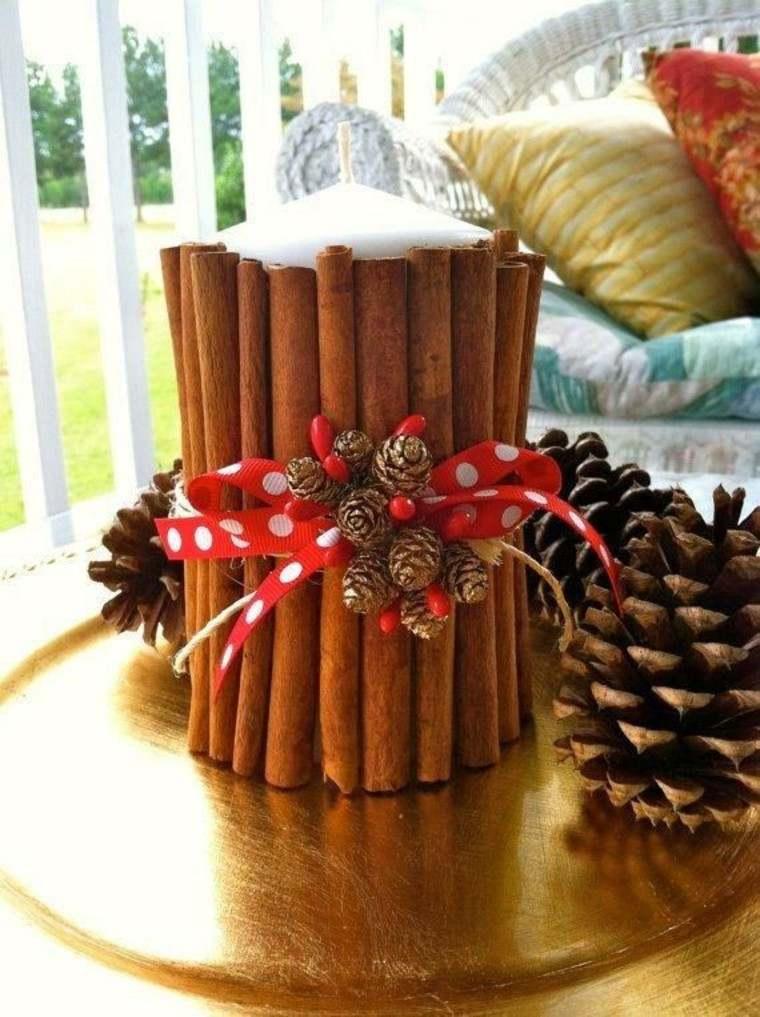 Canela propiedades decorativas en 50 ideas asombrosas for Centros navidenos con velas