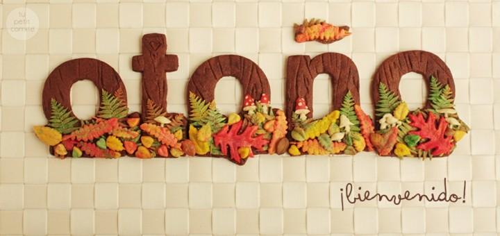 cartel palabra otoño galletas