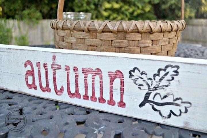 cartel otoño letras rojas hojas