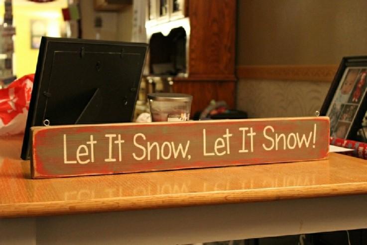 cartel navideño que nieve