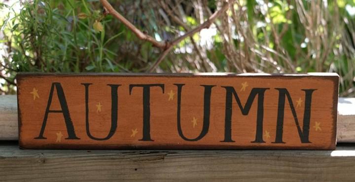 cartel palabra otoño color naranja