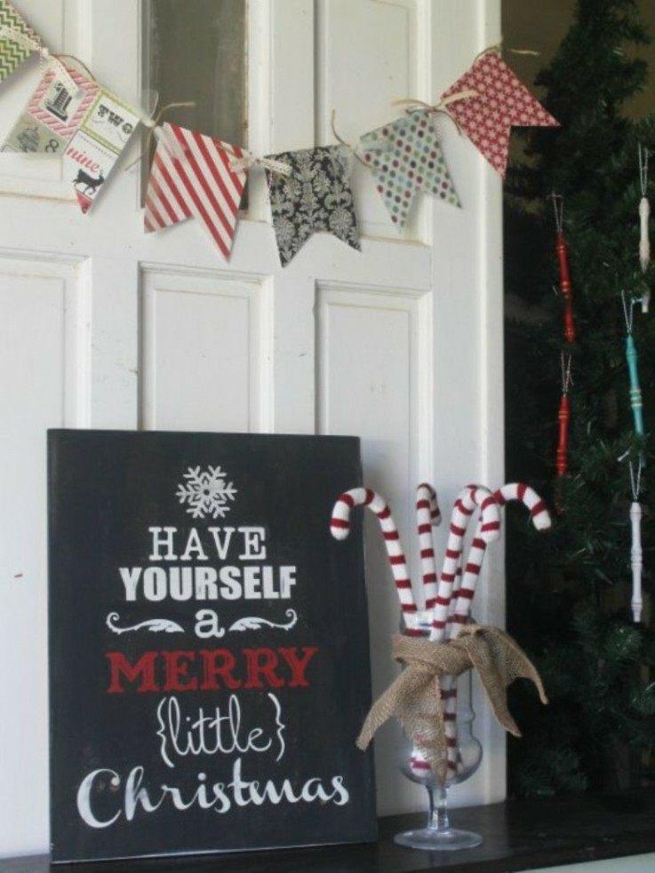 cartele navideño pizarra negra