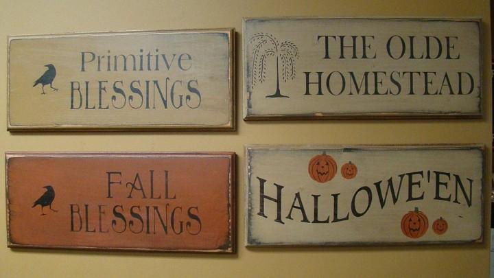 carteles pared señales deco otoño