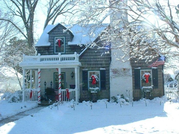 casa nieve adornos navidad