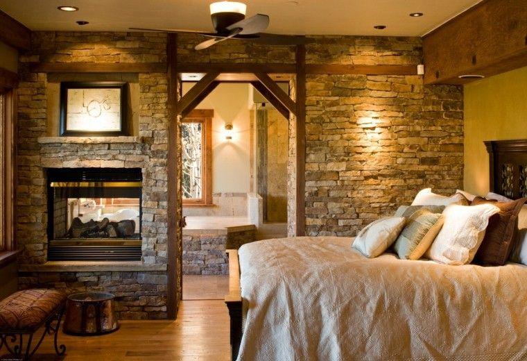 casas rusticas habitaciones calido rocas lamparas