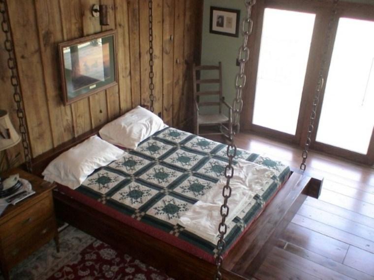 casas rusticas habitaciones cama colgante cadenas