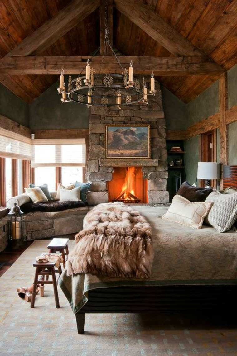 casas rusticas habitaciones candelabro metal chimenea