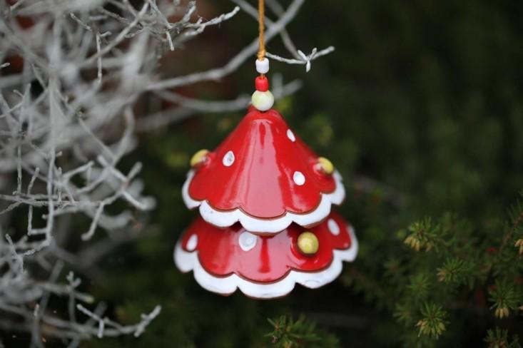 cascabel forma campana ceramica roja