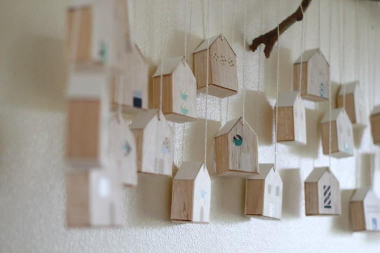 casitas pajaros madera calendario Adviento