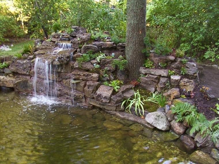 catarata jardin arbol estanque natural