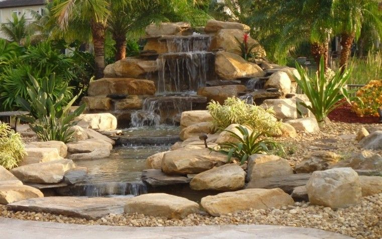 cataratas jardin diseño moderno rocas