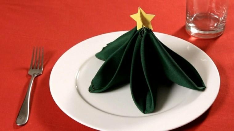 cena de navidad servilletas estrellas arboles