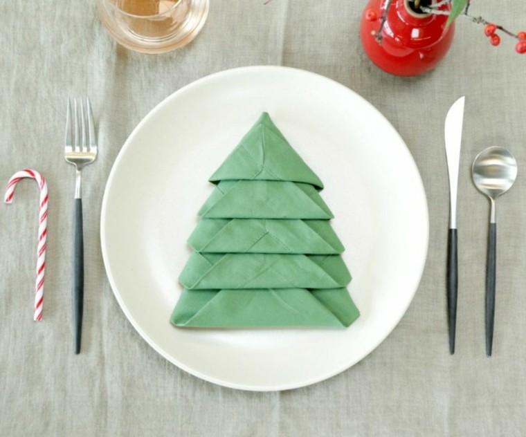 cena de navidad servilletas verde arboles