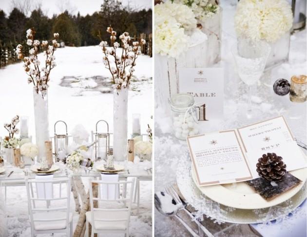 cena navidad flores blancas