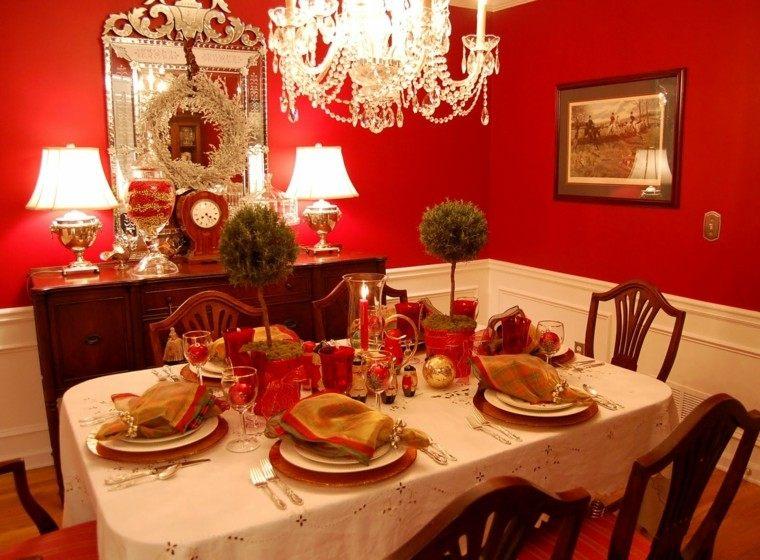 cenas de navidad recetas decorar mesa abetos mesa ideas