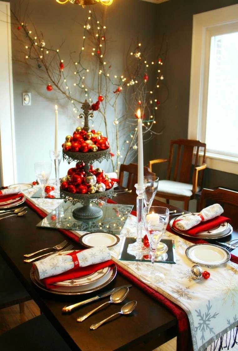 cenas de navidad recetas decorar mesa bolas rojo plata ideas
