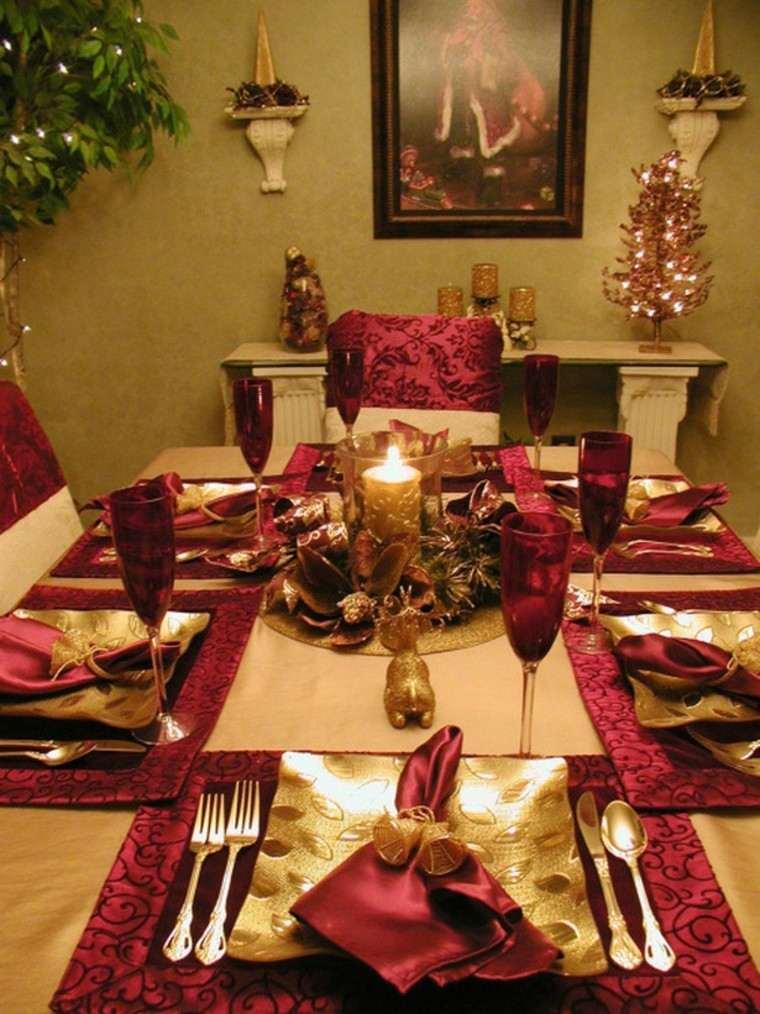 cenas de navidad recetas decorar mesa rojo oscuro ideas