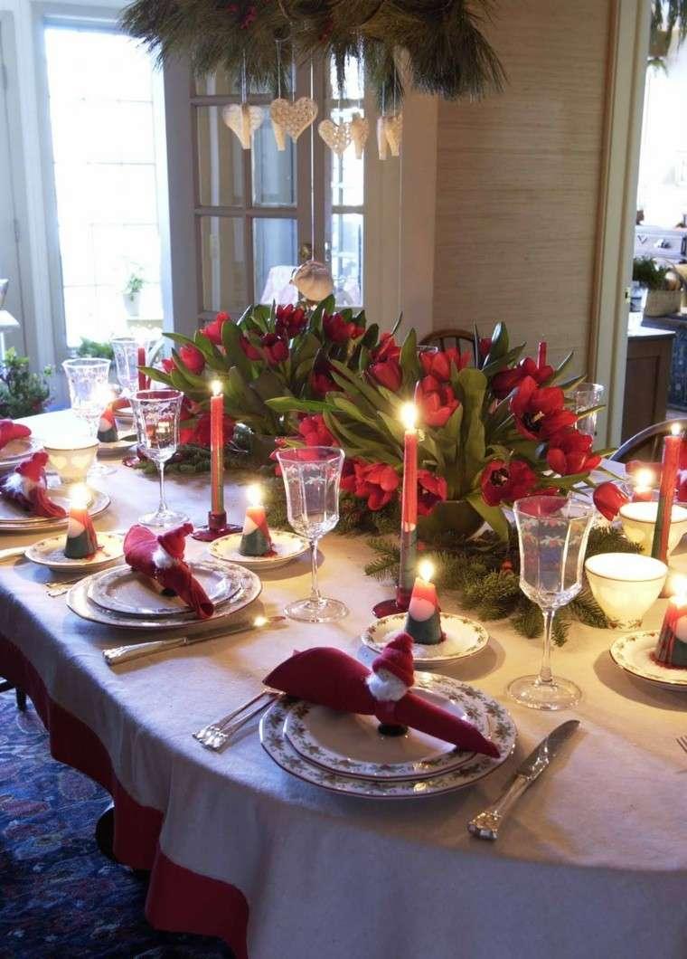 cenas de navidad recetas decorar mesa tulipanes ramas ideas