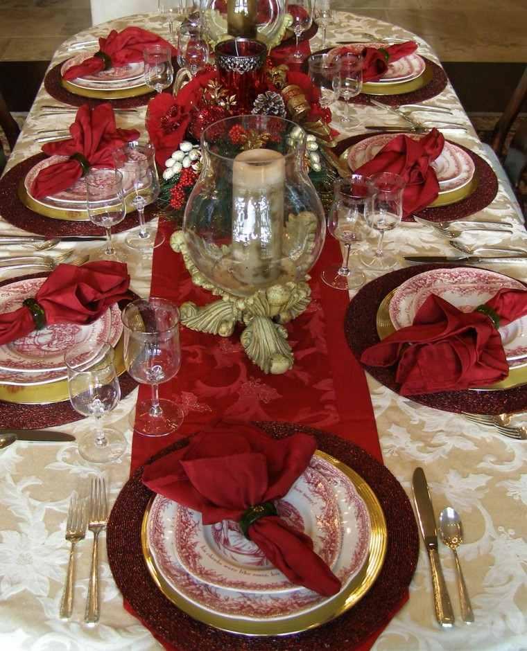 cena navidad mesa platos servilletas rojas ideas