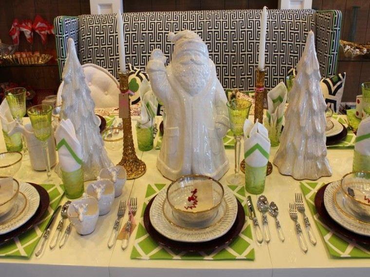cenas navidad recetas decorar mesa papa noel blanco ideas