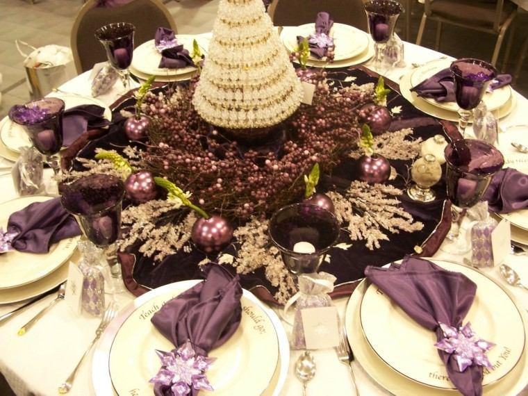 cenas navidad recetas decorar mesa purpura ideas