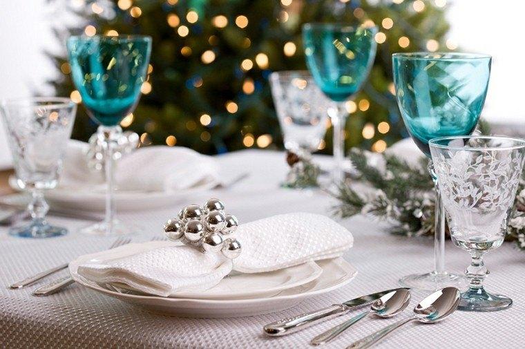cenas navidad recetas decorar mesa vasos azules ideas