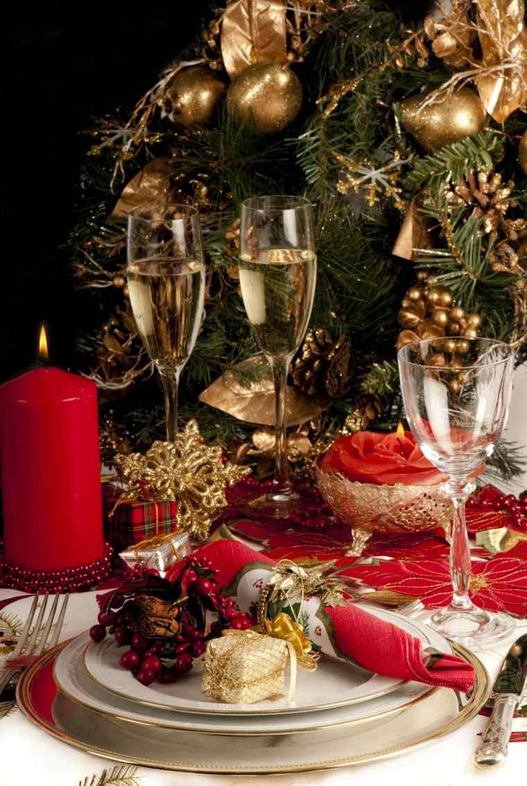cenas navidad recetas decorar mesa vela roja ideas