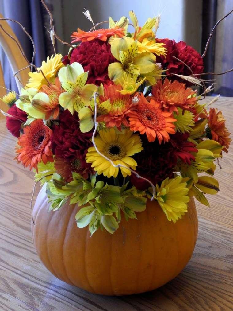 centro mesa calabaza flores colores
