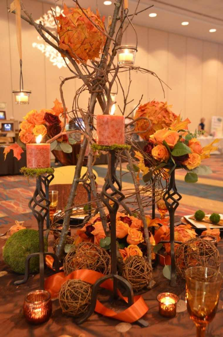 centro de mesa ideas candelabros altos velas preciosas