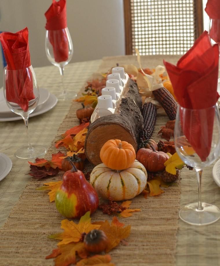 centro de mesa ideas madera velas manzanas orecioiso