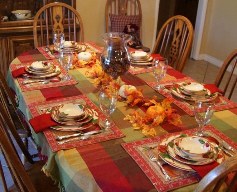centro de mesa ideas manzanas hojas secas precioso