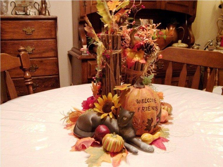 centro de mesa ideas ramas arbolflores clabaza preciosa