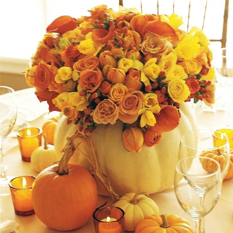 centro mesa calabaza grande rosas naranja ideas