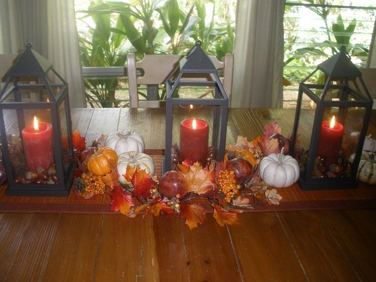 centro mesa farolas negras hojas calabazas ideas
