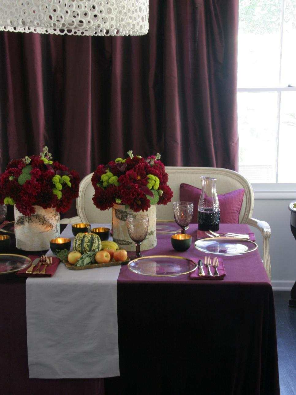 centro mesa ideas calabazas manzanas flores rojas preciosas moderno